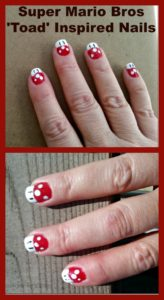Super Mario Bros Toad Inspired Nail Art