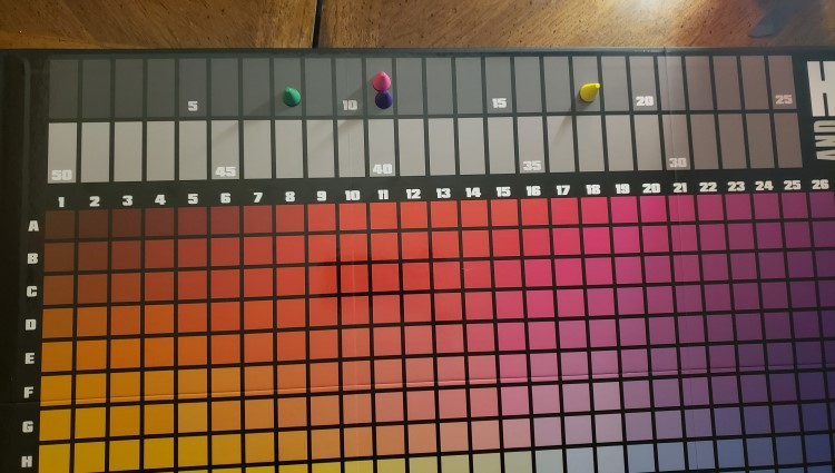 Hues and Cues Game Scoring Board